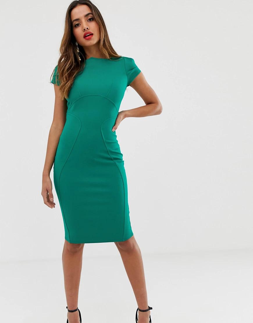 Closet London | Зеленое платье-футляр с присборенными короткими рукавами Closet Lопdоп-Зеленый | Clouty
