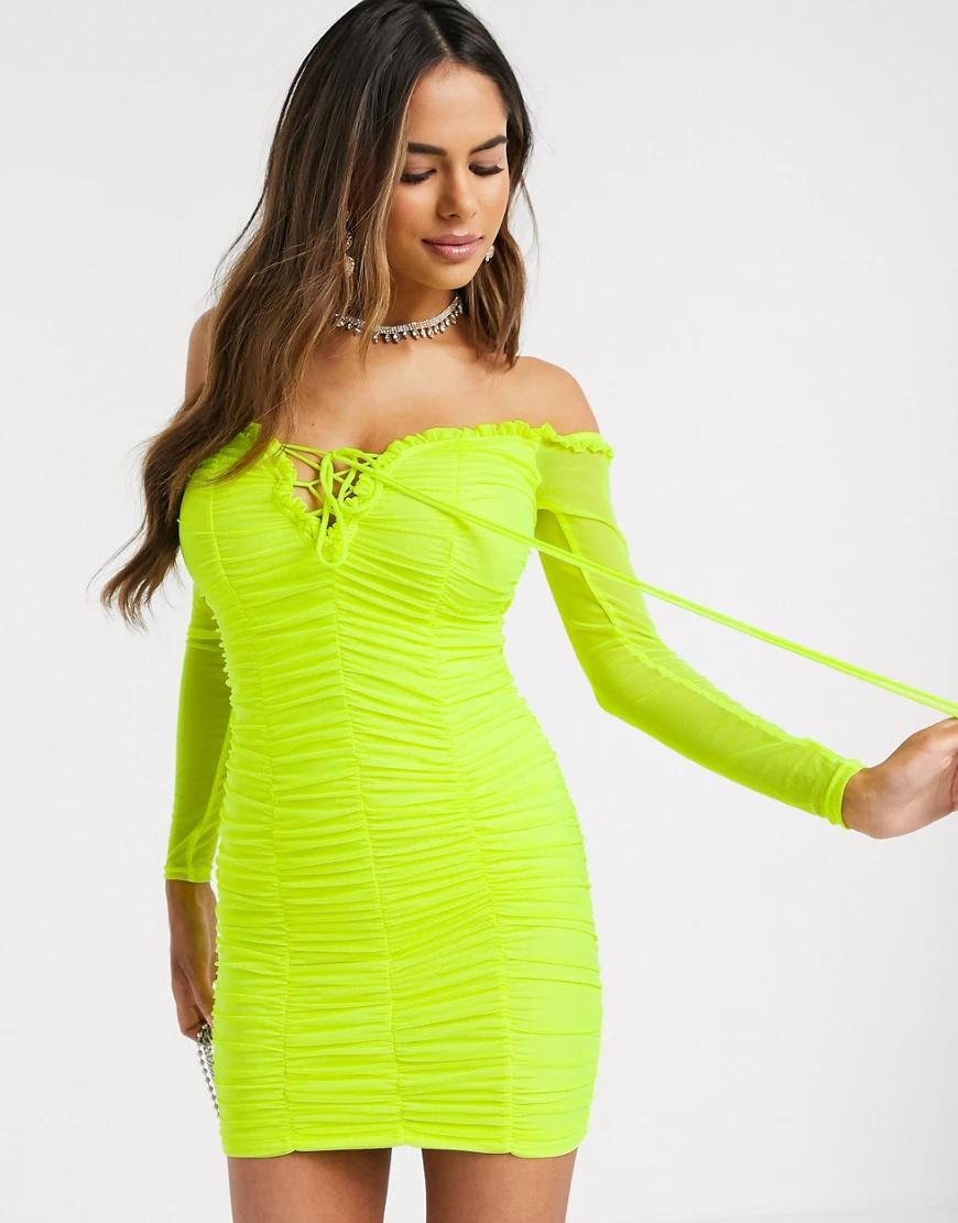 Love & Other Things | Зеленое платье мини со шнуровкой и сборками Love & Other Тhiпgs-Зеленый | Clouty