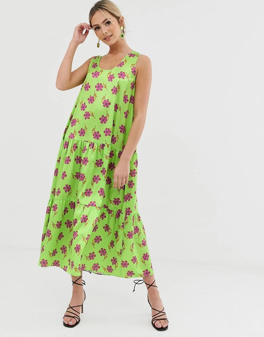 Liquorish | Зеленое платье миди А-силуэта с цветочным принтом Liquorish-Зeлeный | Clouty
