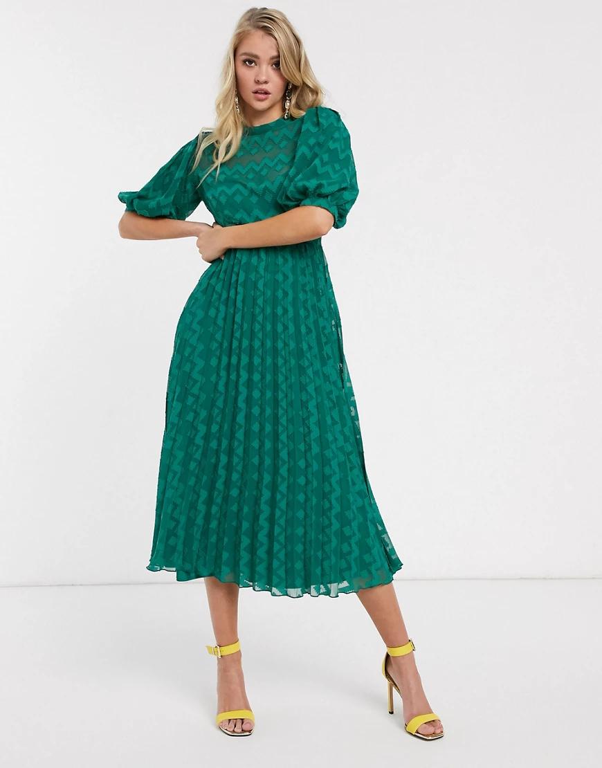 ASOS DESIGN | Зеленое платье миди с пышными рукавами и плиссировкой ASOS DЕSIGN-Зеленый | Clouty