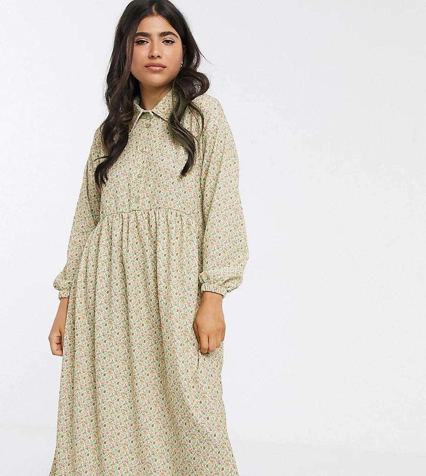 ASOS DESIGN   Зеленое свободное платье-рубашка с длинными рукавами и цветочным принтом ASOS DESIGN Petite-Мульти   Clouty