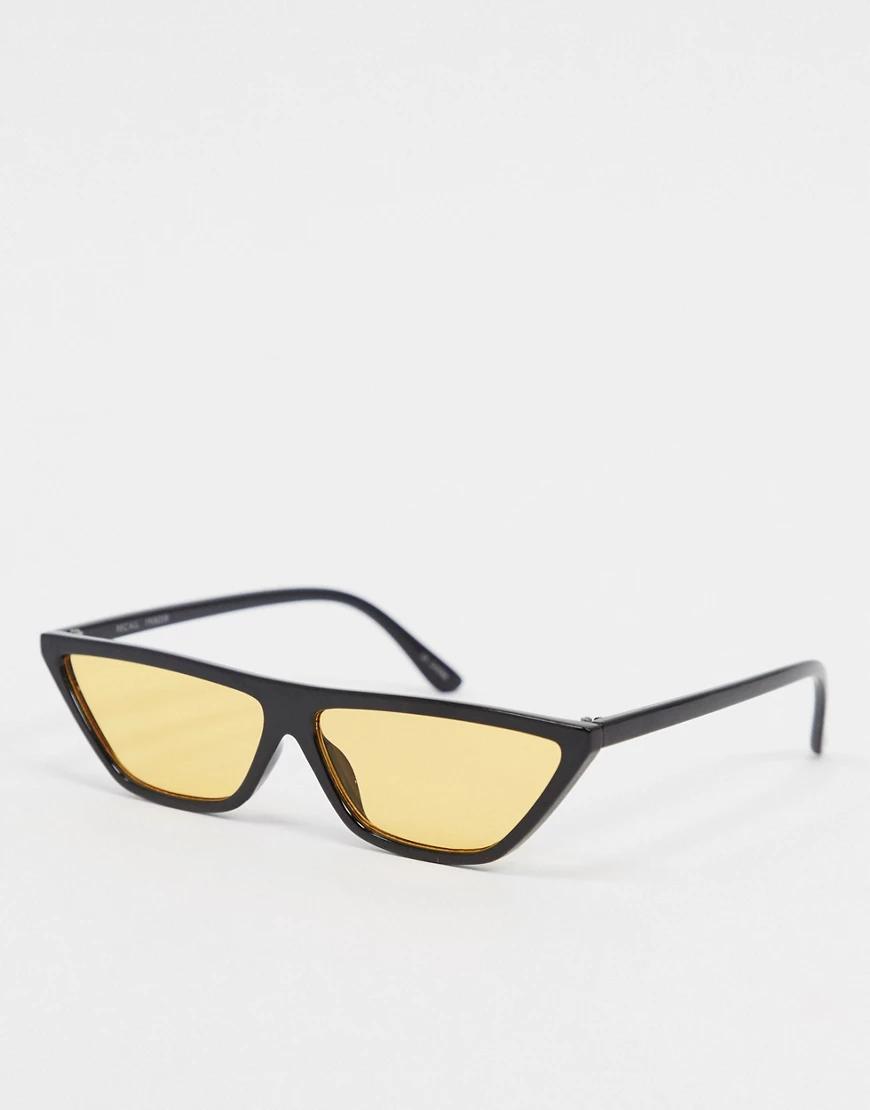 MINKPINK | Желтые квадратные солнцезащитные очки с плоским верхом MinkPink-Жeлтый | Clouty