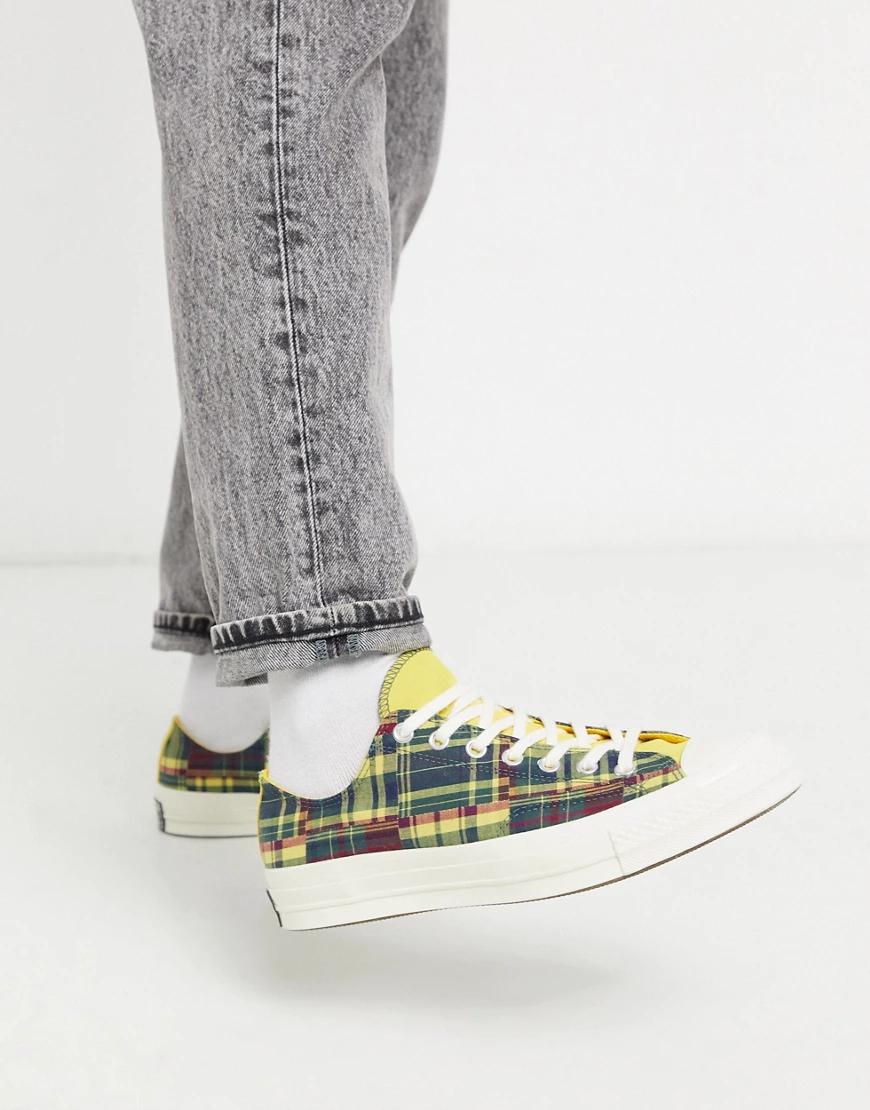 CONVERSE | Желто-красные кеды в стиле пэчворк Converse Chuck '70-Желтый | Clouty