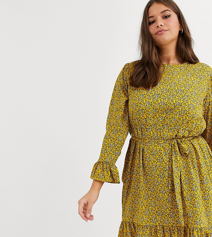 New Look | Желтое платье мини с цветочным принтом и поясом New Look Сиrvе-Желтый | Clouty