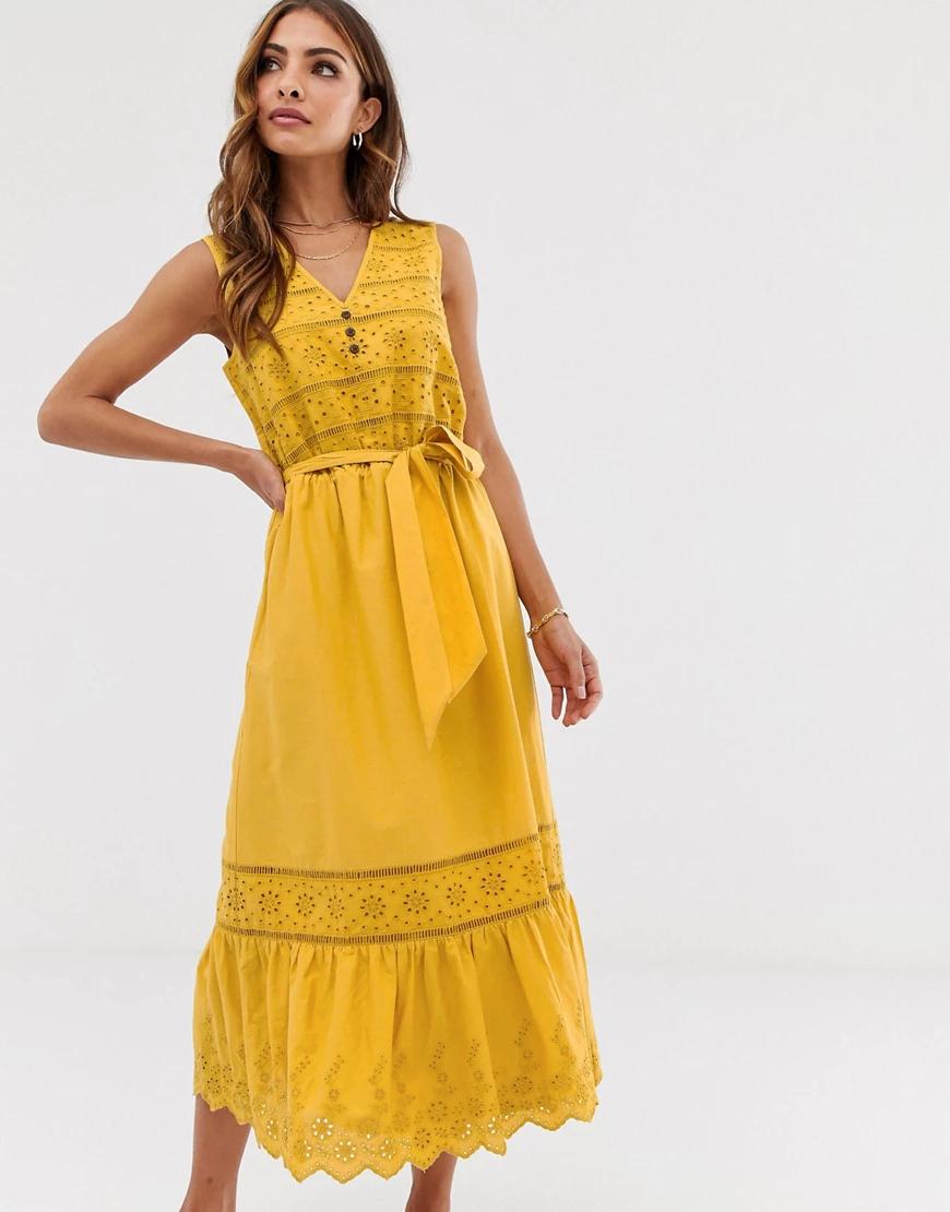 Esprit | Желтое платье миди с вышивкой ришелье и завязкой Esprit-Желтый | Clouty