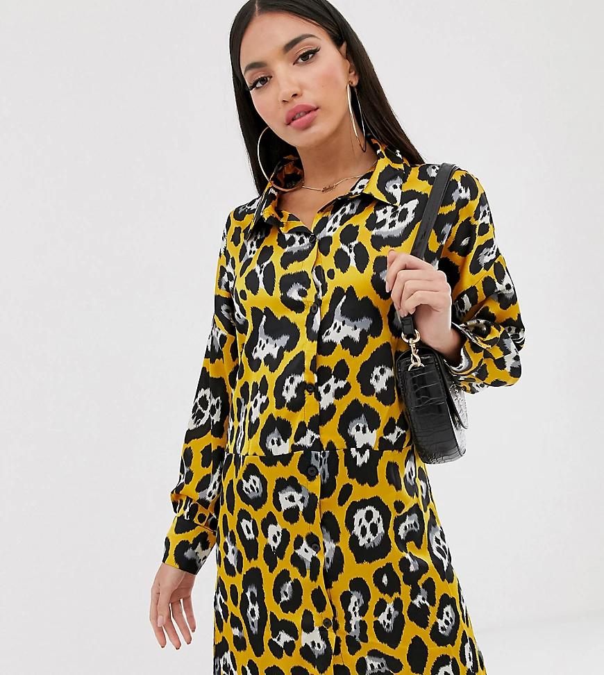 Missguided   Желтое платье-рубашка с леопардовым принтом Missguided Таll-Желтый   Clouty