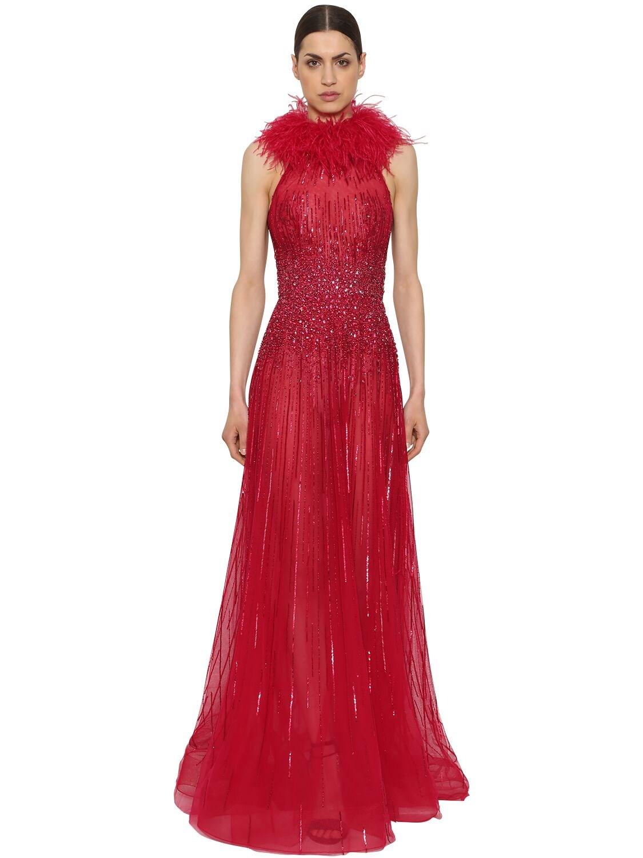 Zuhair Murad | Платье С Вышивкой И Перьями | Clouty