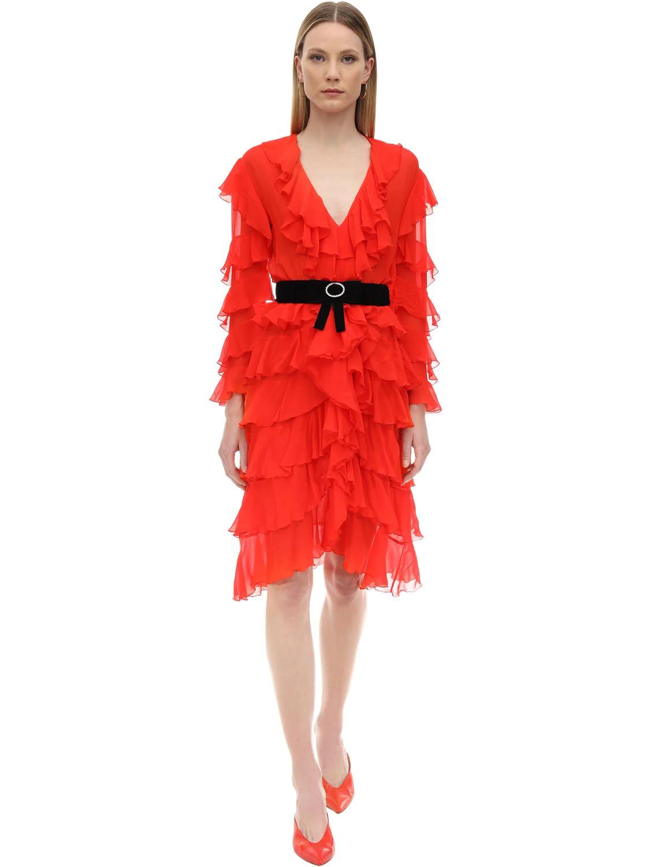 MARIANNA SENCHINA | Платье Миди С Оборками | Clouty