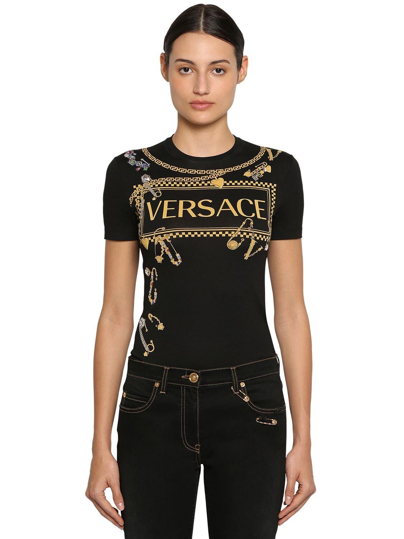 Versace | Футболка Из Хлопкового Джерси С Вышивкой | Clouty