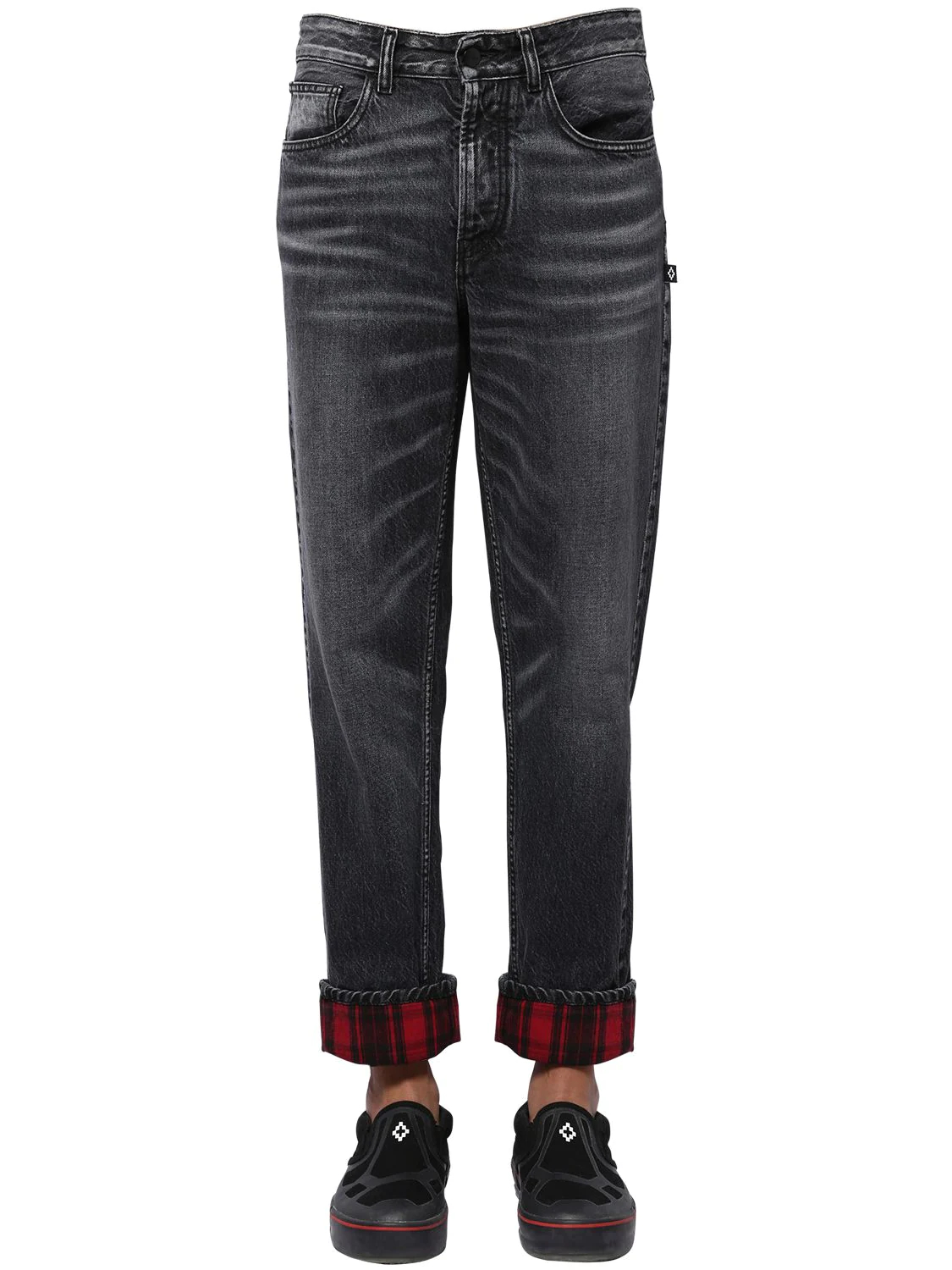 Marcelo Burlon | Cotton Denim Carrot Jeans W/ Check | Clouty