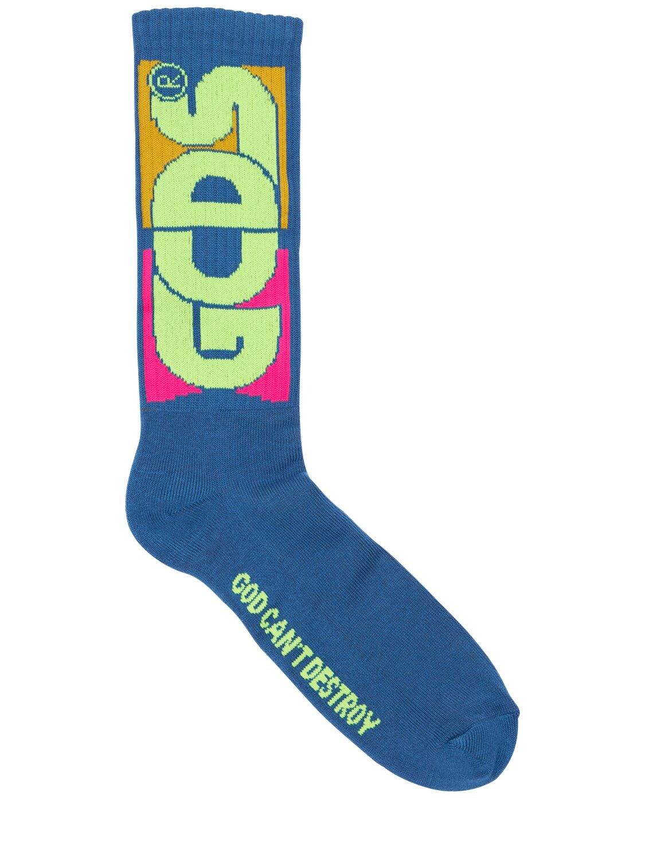 GCDS | Macro Round Logo Cotton Blend Socks | Clouty