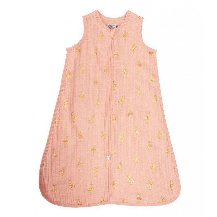 Bizzi Growin | Спальный конверт Bizzi Growin Gold Flamingo муслин | Clouty