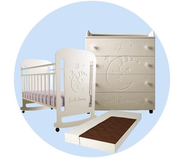 Forest | Детская кроватка Forest Sweet Dreams (качалка) с комодом и матрасом | Clouty