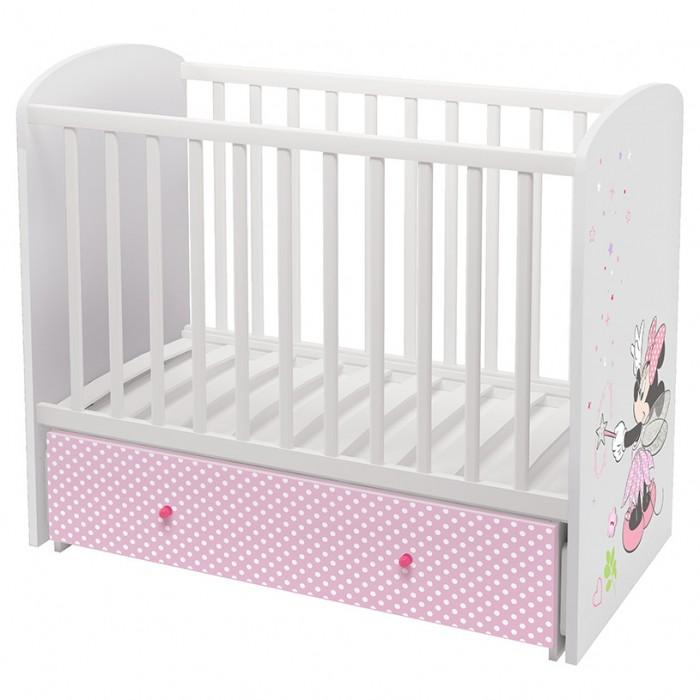 Polini | Детская кроватка Polini Disney 750 Минни Маус-Фея поперечный маятник 120х60 см | Clouty