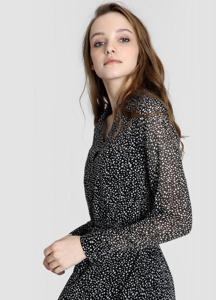 O'STIN   черный Платье-рубашка из шифона   Clouty