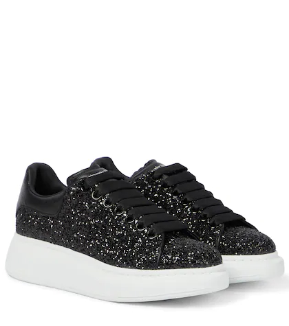 Alexander McQueen | Glitter leather platform sneakers | Clouty