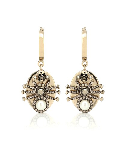 Alexander McQueen | Spider crystal-embellished earrings | Clouty