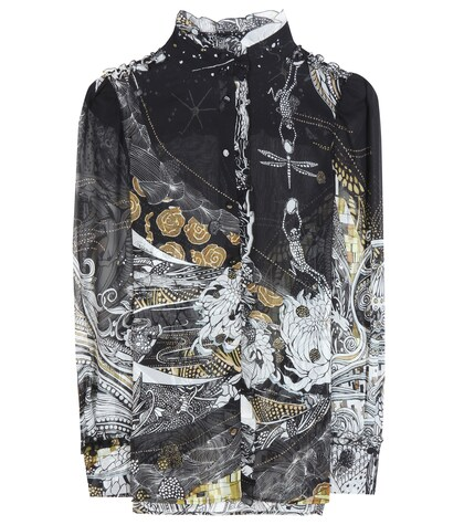 Roberto Cavalli | Ruffled floral-printed silk blouse | Clouty