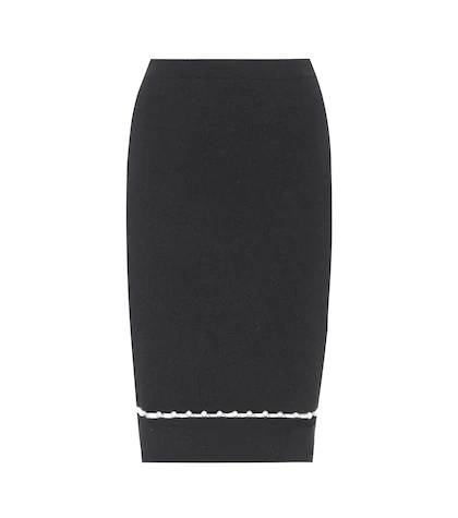 GIVENCHY | Faux pearl-embellished wool-blend skirt | Clouty