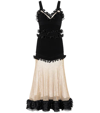 Alexander McQueen | Silk-blend and mesh dress | Clouty