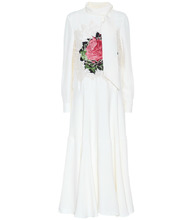 Фото Floral lace-trimmed crepe gown