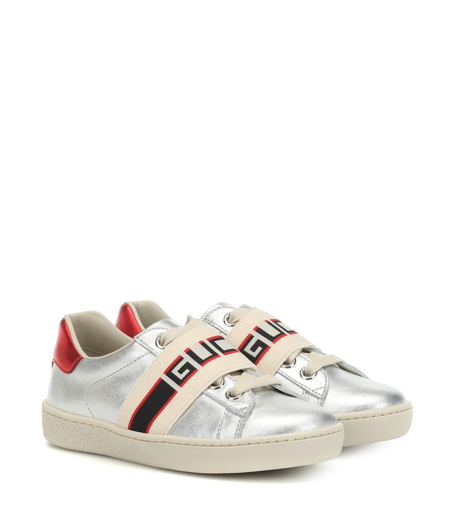 Gucci Kids | Ace metallic leather sneakers | Clouty
