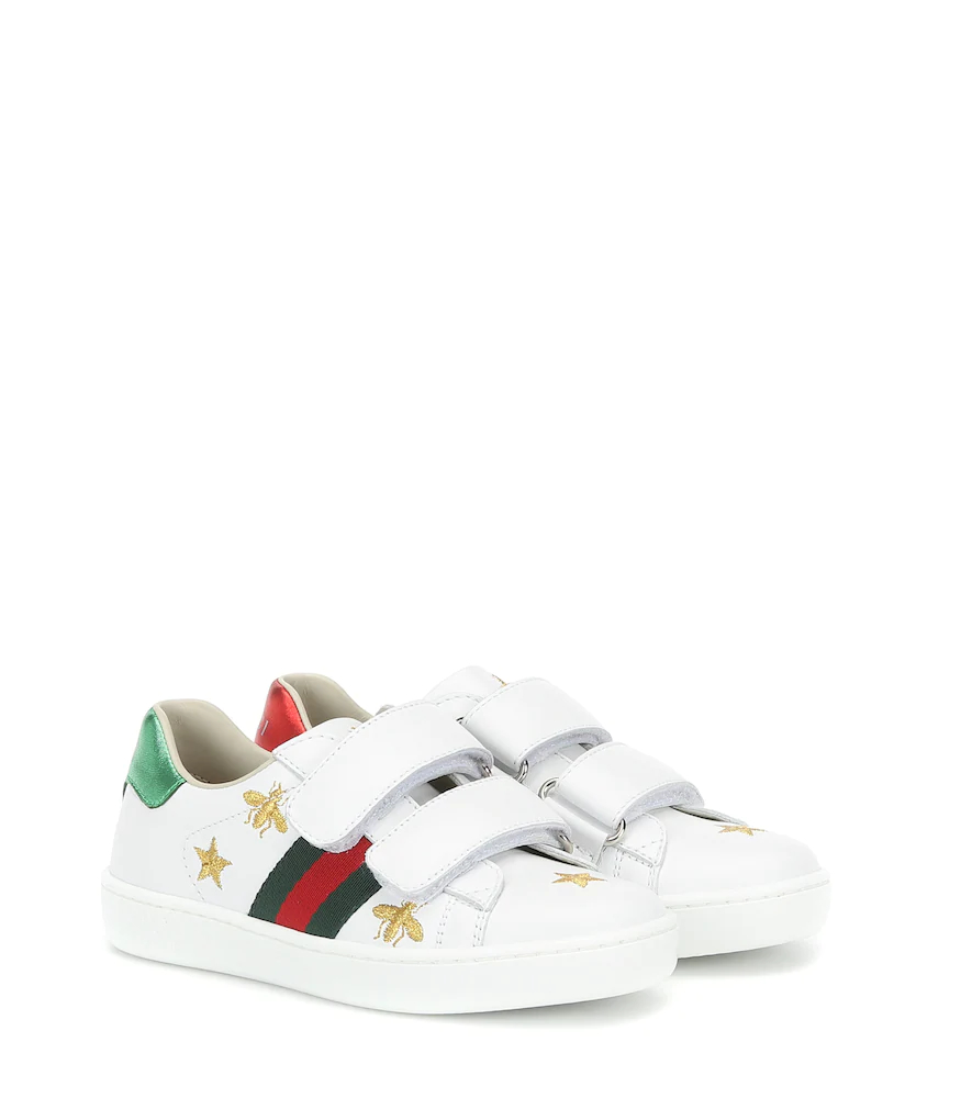 Gucci Kids | Ace embroidered leather sneakers | Clouty