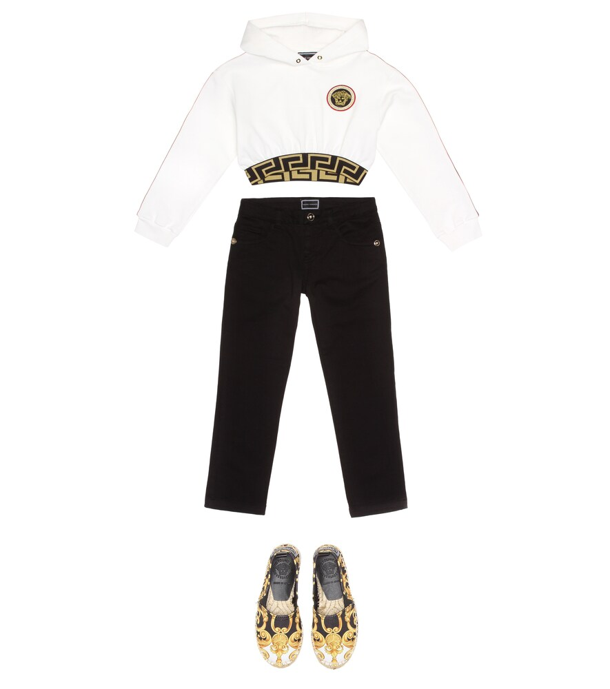 Versace Kids   Embroidered cropped cotton hoodie   Clouty