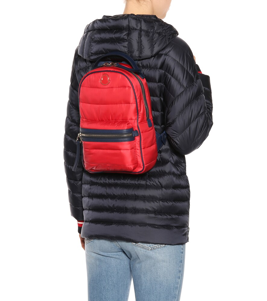 MONCLER | Georgette leather-trimmed backpack | Clouty