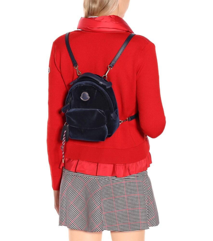 MONCLER | Leather-trimmed velvet backpack | Clouty