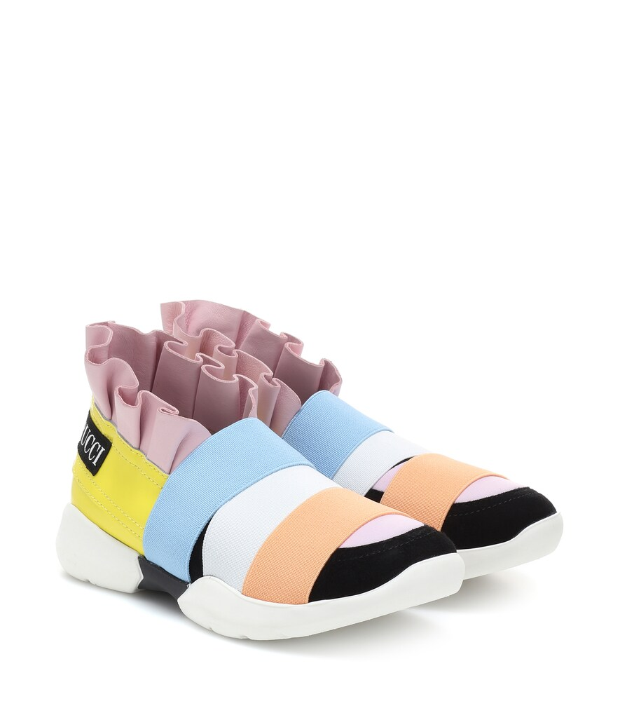 Emilio Pucci Kids | Leather-trimmed sneakers | Clouty