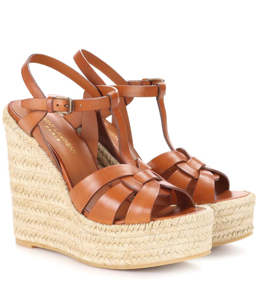 SAINT LAURENT   Tribute leather wedge espadrille sandals   Clouty