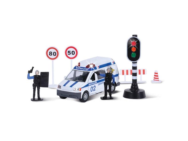 Технопарк | Набор Технопарк, Милиция/полиция инерц. со светофором и фигурками, свет, звук | Clouty