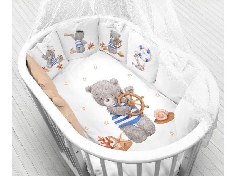 Моей крохе | Комплект в кроватку Моей крохе, Мишка моряк (12 подушек-бортиков, КПБ и балдахин из вуали) белый | Clouty