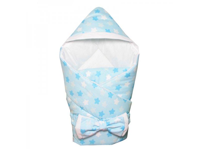 CherryMom | Конверт-одеяло CherryMom, с капюшоном Звездный микс, зима голубой, р. | Clouty