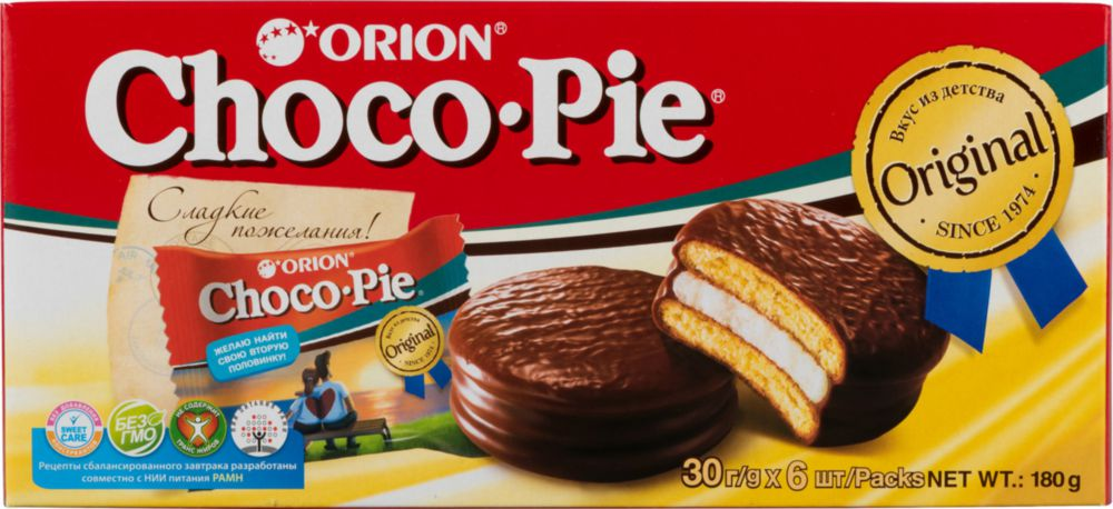 Orion   Пирожное choco pie Orion 30 г 6 штук   Clouty