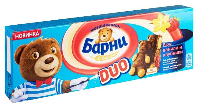 Барни   Пирожное бисквитное Барни duo вкус ванили и клубники 150 г   Clouty