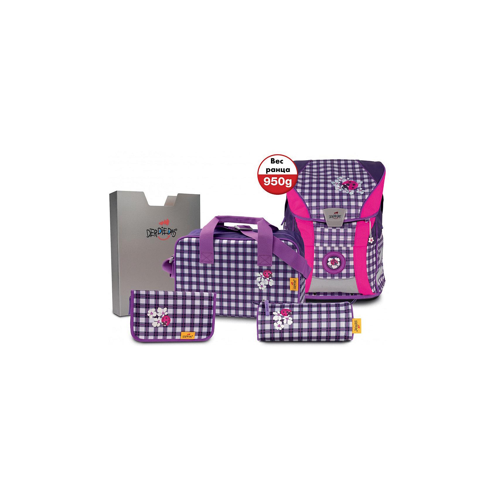 Der Die Das | Ранец DerDieDas ErgoFlex Vario с наполнением, фиолетовая клетка | Clouty