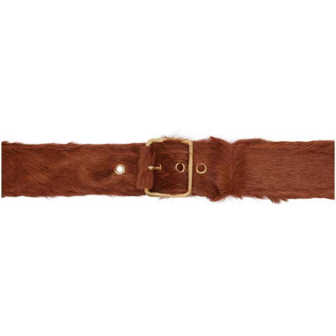 PRADA   Prada Brown Calf Hair Belt   Clouty