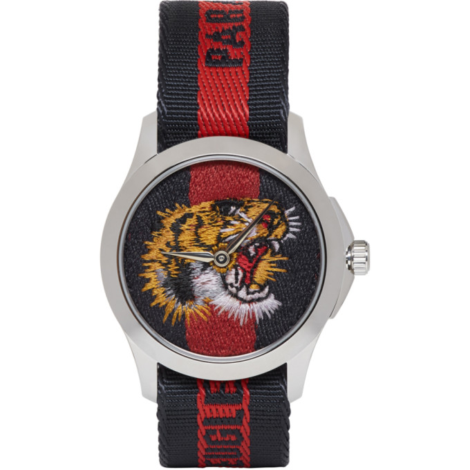GUCCI | Gucci Navy and Red G-Timeless LAveugle Par Amour Tiger Watch | Clouty