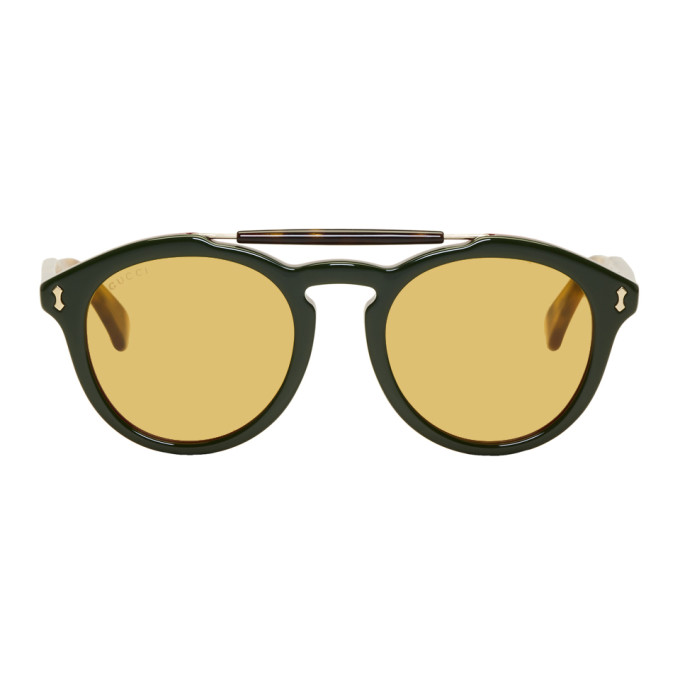 GUCCI | Gucci Green Opulent Luxury Vintage Pilot Sunglasses | Clouty