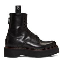 Фото R13 Black Stack Platform Lace-Up Boots