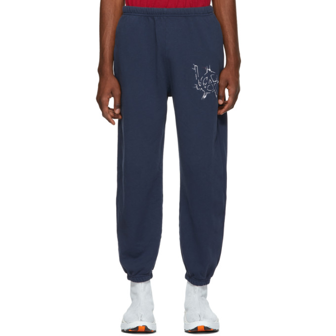 Adaptation | Adaptation Navy Embroidered Graphic Sweatpants | Clouty