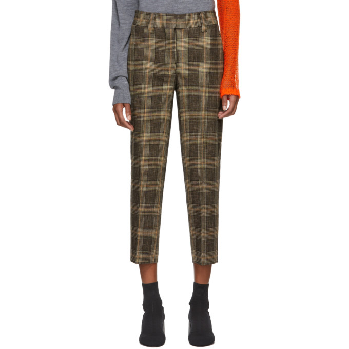 Acne Studios | Acne Studios Brown and Beige Plaid Trousers | Clouty