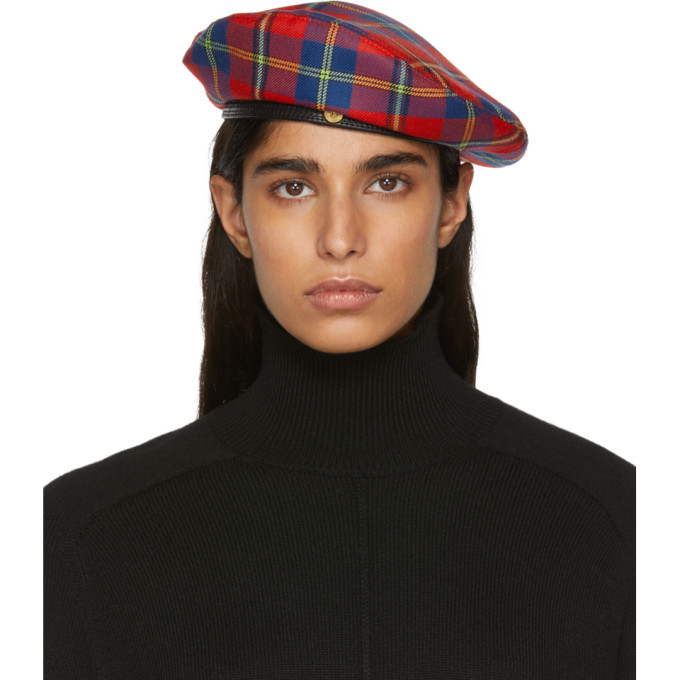 Versace | Versace Red Plaid Medusa Beret | Clouty
