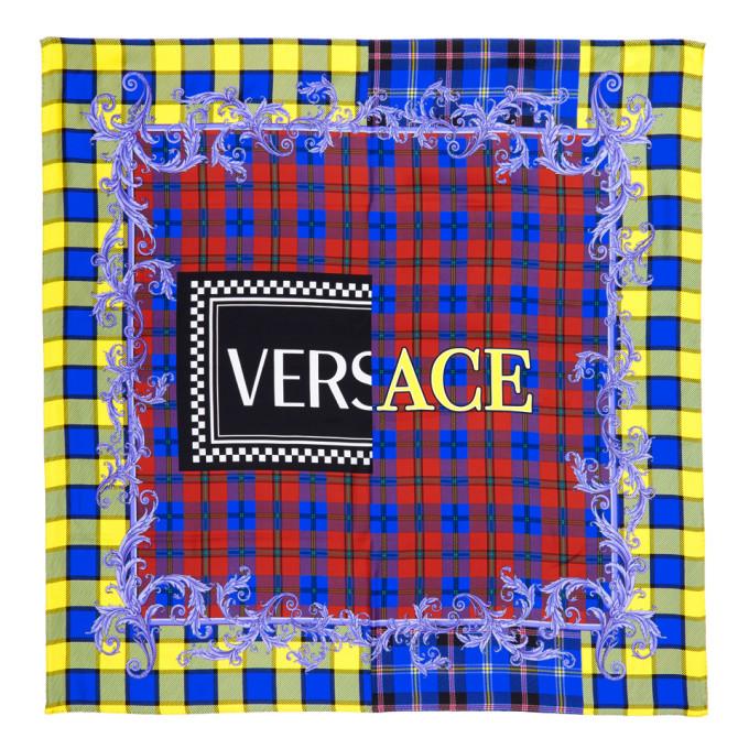 Versace   Versace Multicolor Silk Plaid Logo Scarf   Clouty