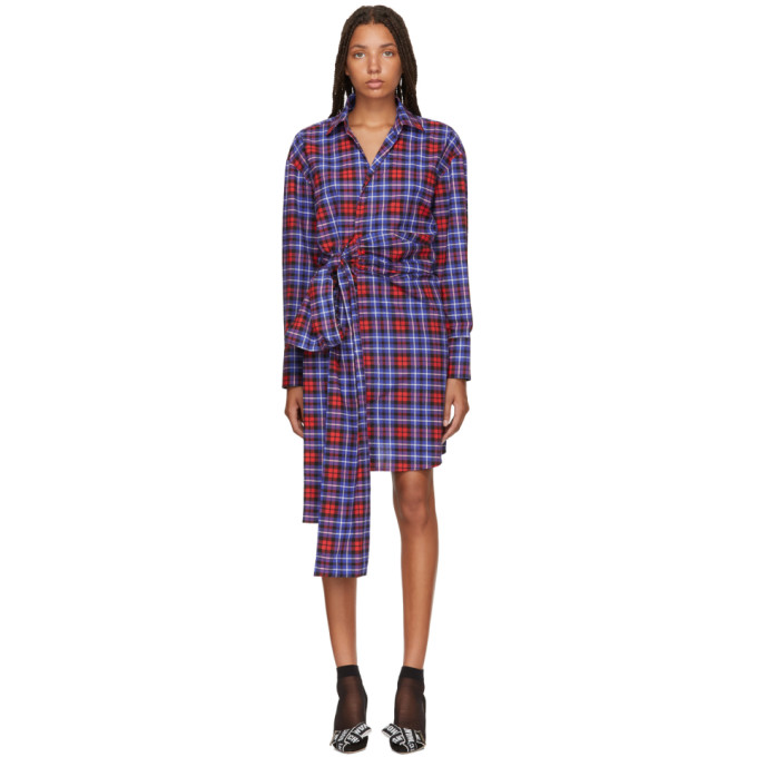 MSGM | MSGM Red and Blue Plaid Shirt Dress | Clouty