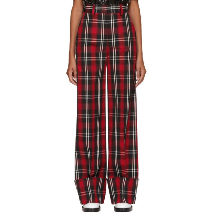 MSGM | MSGM Red Long Plaid Trousers | Clouty