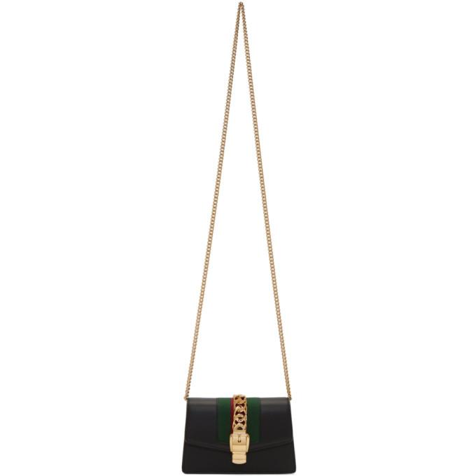 GUCCI   Gucci Black Supermini Sylvie Chain Bag   Clouty