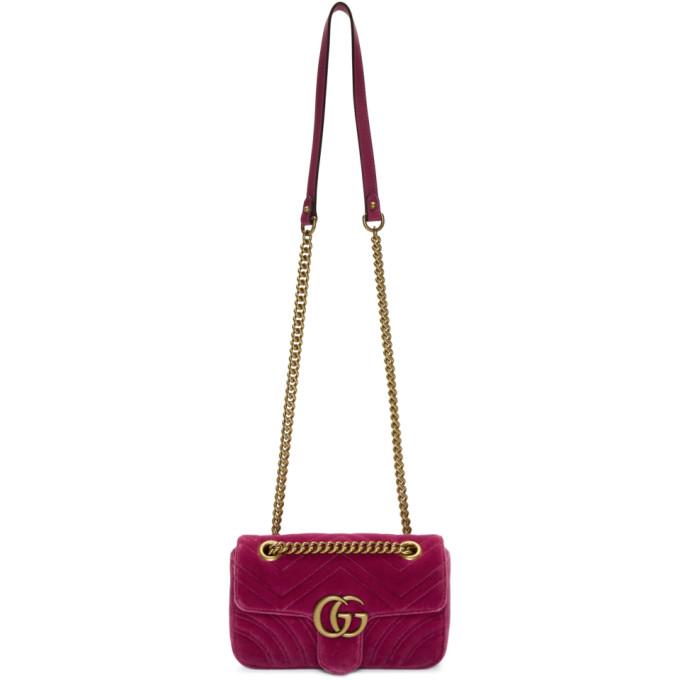 GUCCI   Gucci Pink Mini Velvet Marmont 2.0 Bag   Clouty